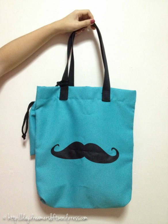 Turquoise Moustache Waterproof Tote Bag(Comes with a small matching sachet) Height 16.5″, Width 14.5″(ID: C3-B) $19.90