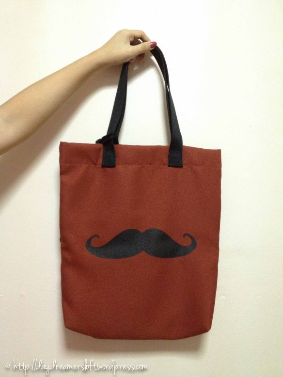 Brown Moustache Waterproof Tote Bag(Comes with a small matching sachet) Height 16.5″, Width 14.5″(ID: C3-A) $19.90